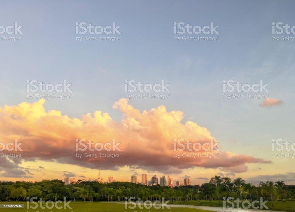 Sonnenuntergang über eine große Grünfläche in São Paulo – Foto