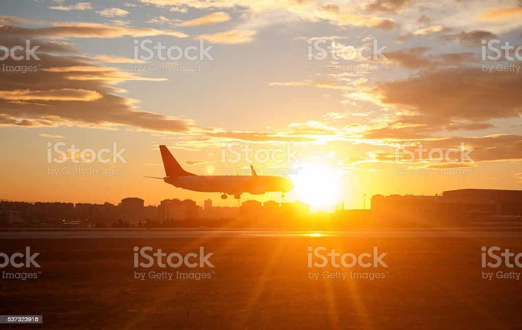 Sunset over Airplane Landing stock photo
