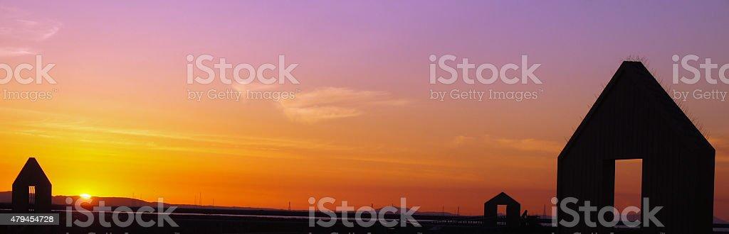 Sunset over Alviso Marina County Park, California stock photo