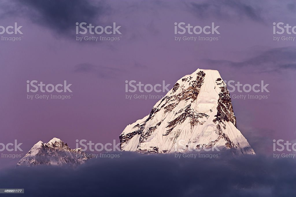 Sunset over Ama Dablam royalty-free stock photo