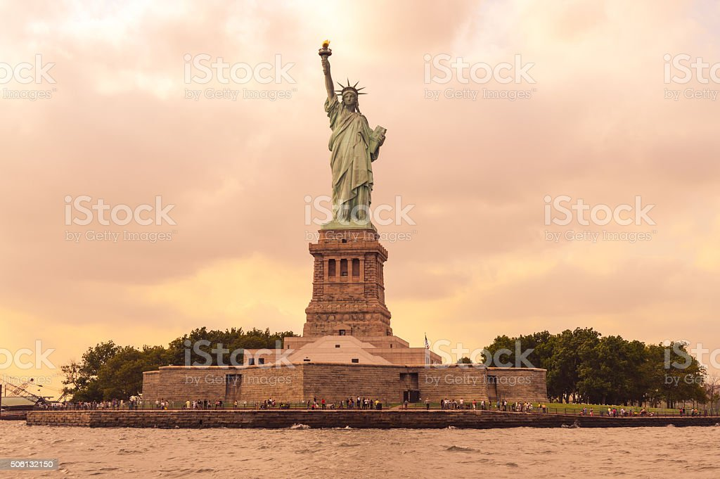 Sunset over America - Statue of Liberty in NYC stock photo