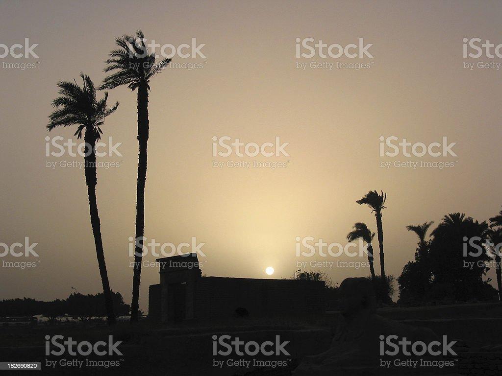 Sunset over an Egyptian Village stock photo