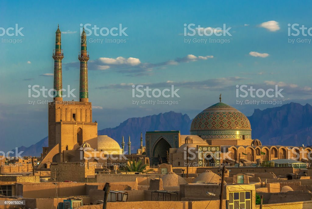 Sunset over ancient city of Yazd, Iran stock photo