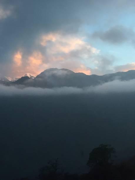 Sunset over Annapurna stock photo
