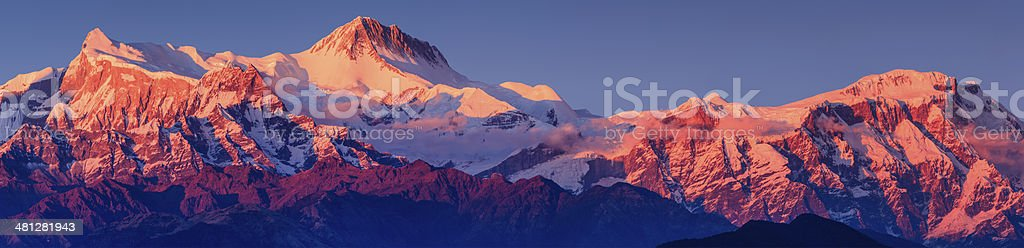Sunset over Annapurna Range seen from Pokhara, Nepal stock photo