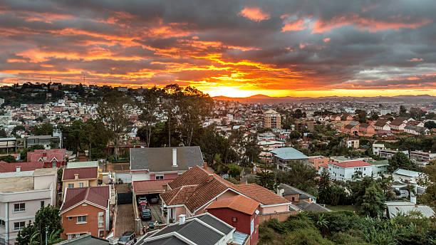 Sunset over Antananarivo stock photo