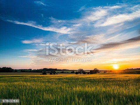 istock Sunset over arable farmland in Barrow Suffolk England 978432830