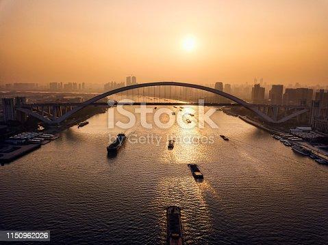 Picture of Lupu Bridge over Huangpu River in Shanghai, China
