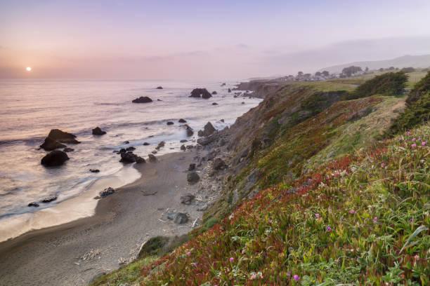 Sunset over Arched Rock Beach near Bodega Bay stock photo