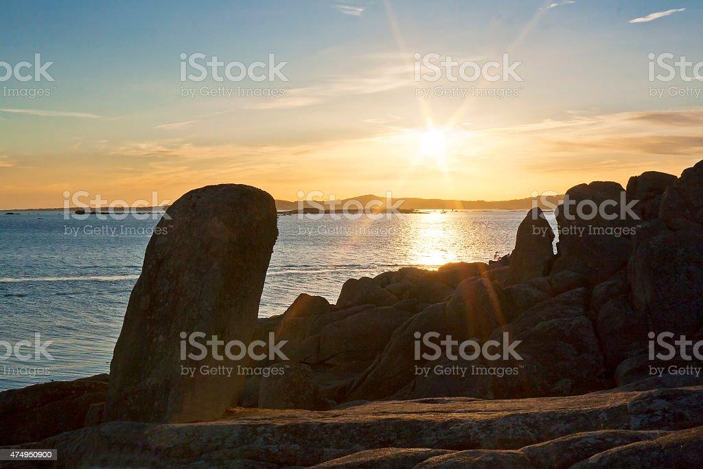 Puesta de sol sobre la isla Areoso - foto de stock