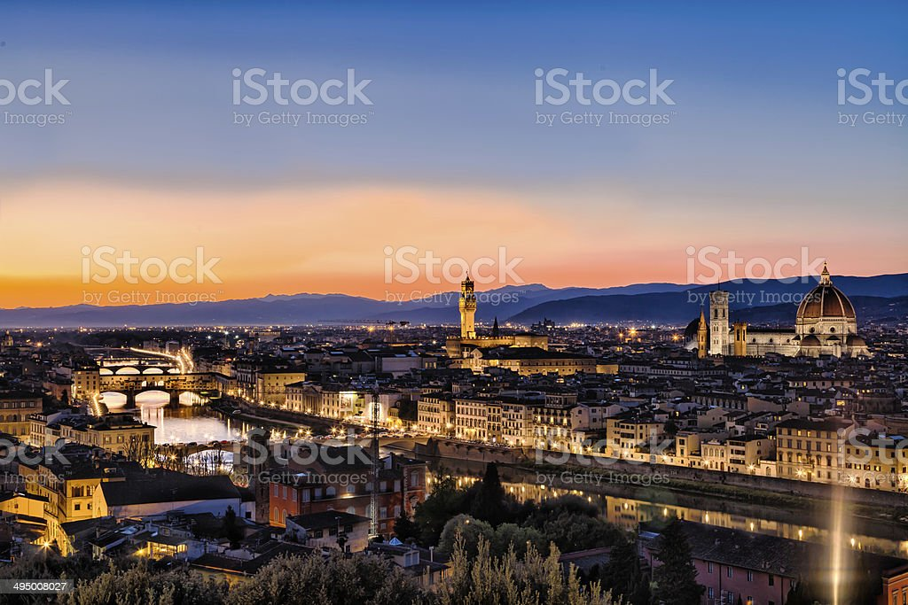 Sunset over Arno river in Florence from piazzale Michelangelo stock photo