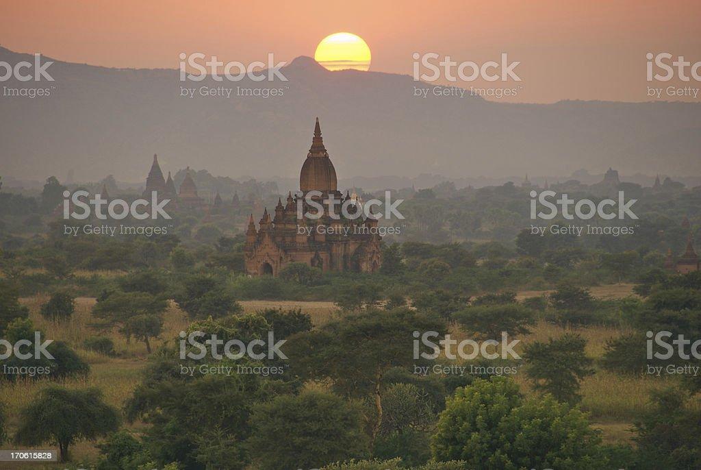 Sunset over Bagan royalty-free stock photo