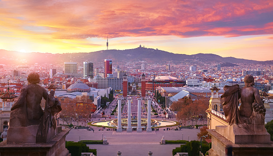 Sunset over Barcelona Spain Square of Evening