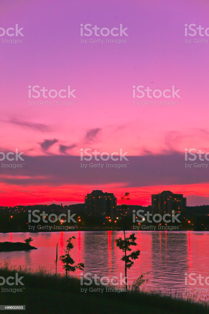 Sunset over Barrie, Ontario, Canada stock photo