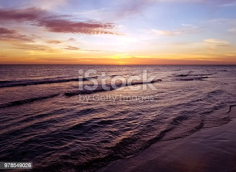 Sunset over Bay of Pigs and Caribbean Sea in Cuba