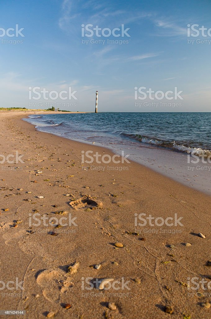 Sunset over beach of Vilsandi National park, Saaremaa, Estonia stock photo