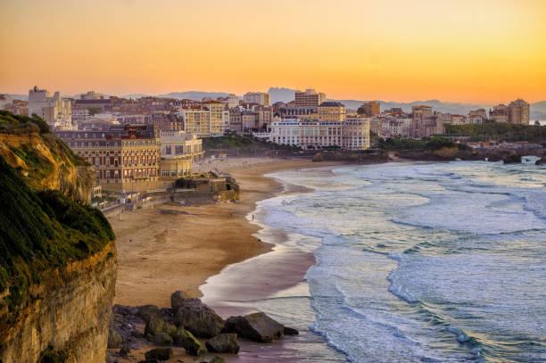 Sunset over Biarritz beaches, France, Atlantic coast stock photo