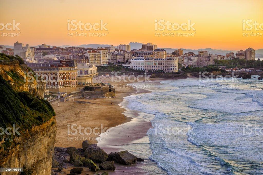 Coucher de soleil sur les plages de Biarritz, France, côte Atlantique - Photo