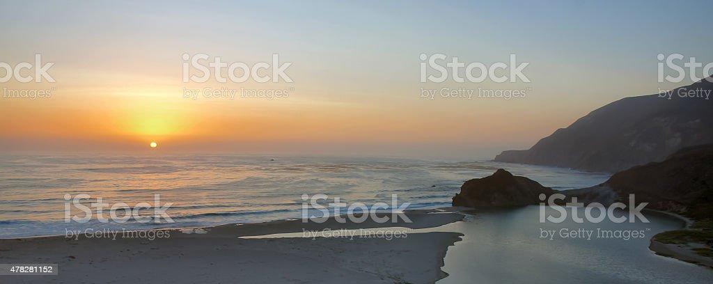 Sunset over Big Sur, California stock photo
