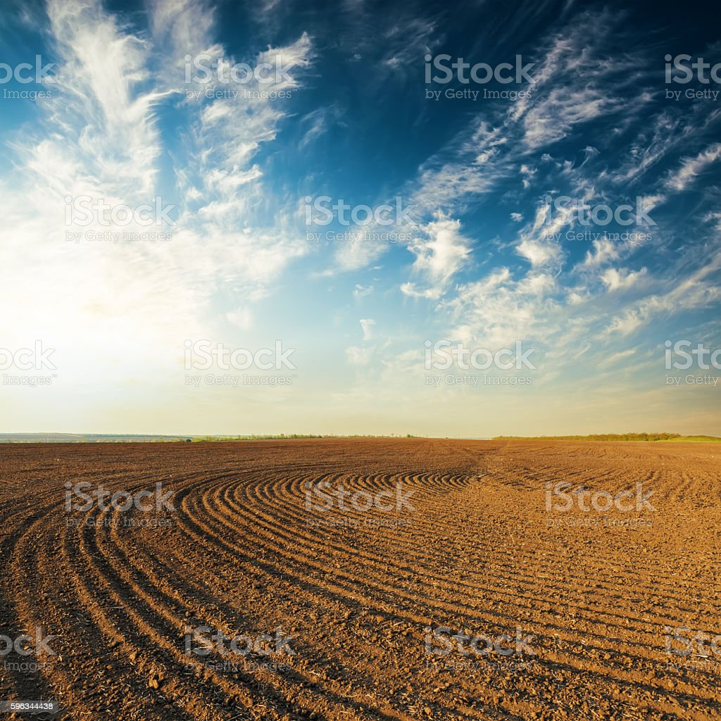 sunset over black agricultural field royalty-free stock photo
