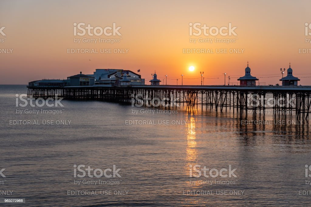 Sunset over Blackpool Pier stock photo
