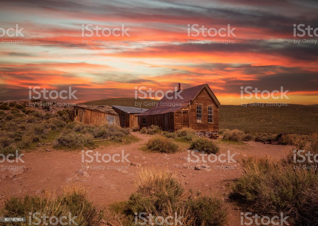 Sunset over Bodie ghost town in California stock photo