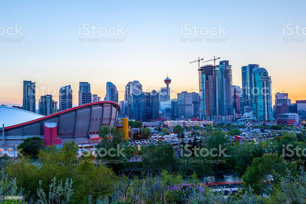 Sunset Over Calgary Downtown stock photo