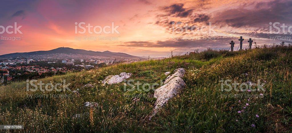 Sunset over Calvary stock photo
