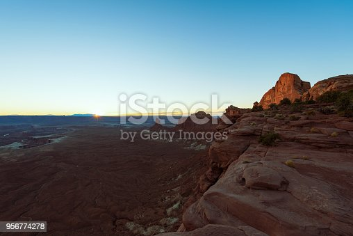 Sunset over Canyonlands National Park in Vintage toned, Retro Style, travel concept, Moab, USA