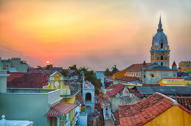 sunset over cartagena - colombia stock photos and pictures