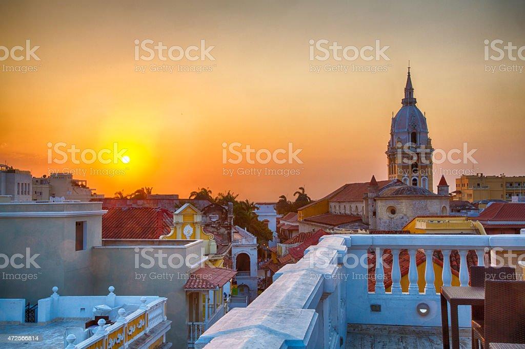 Sunset over Cartagena stock photo