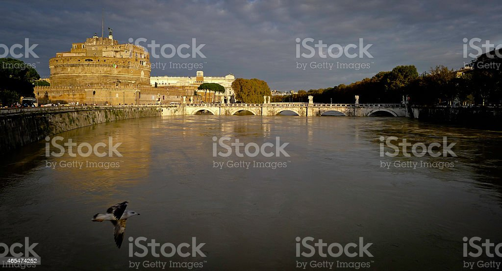 Sunset over Castle Sant Angelo with Seagull royalty-free stock photo