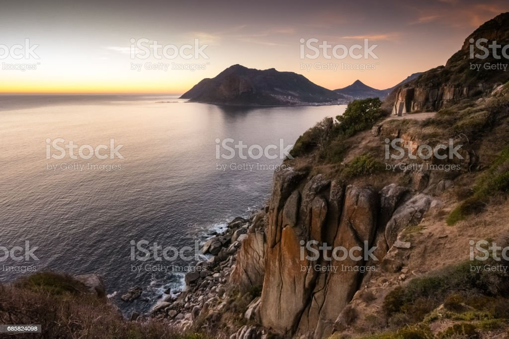 Sunset over Chapman's Peak drive near Cape Town, South Africa stock photo