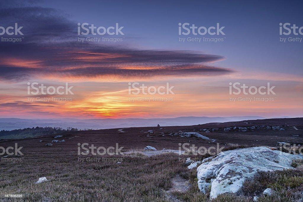 Sunset over Cheviot Hills stock photo