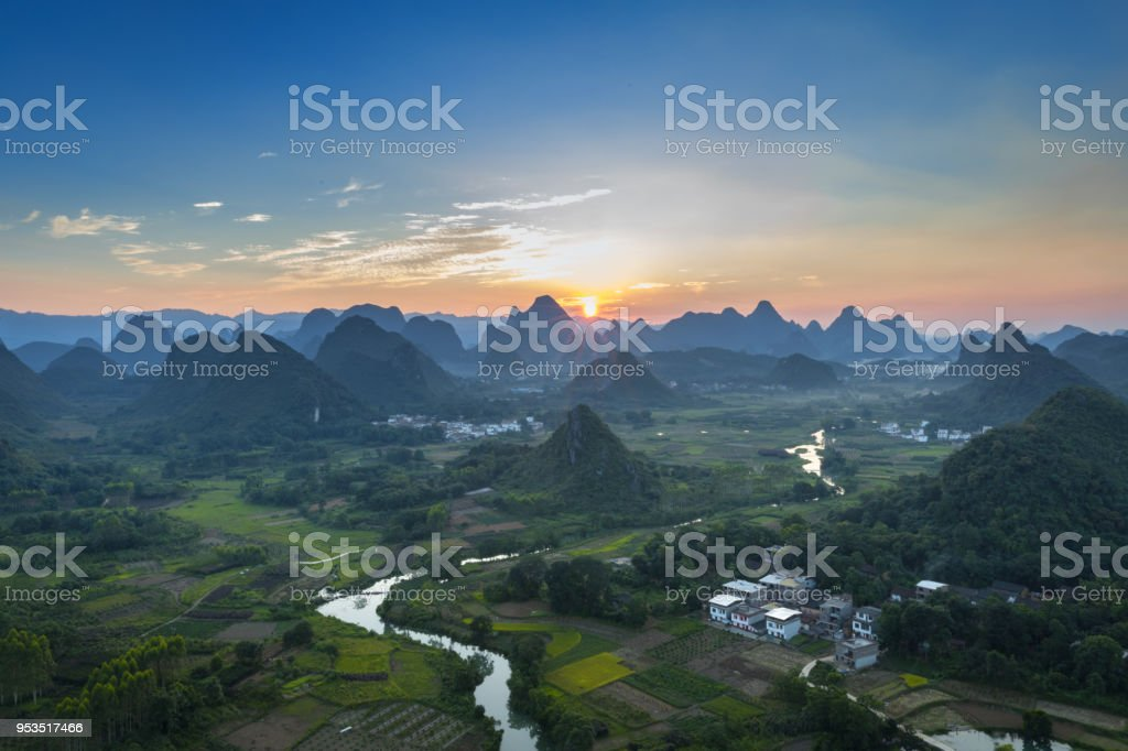 Sunset over Chinese mountains stock photo