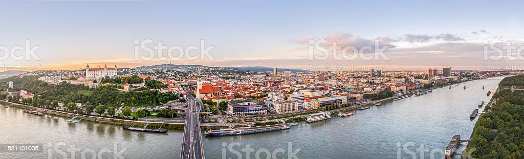 Sunset over City of Bratislava, Slovakia stock photo