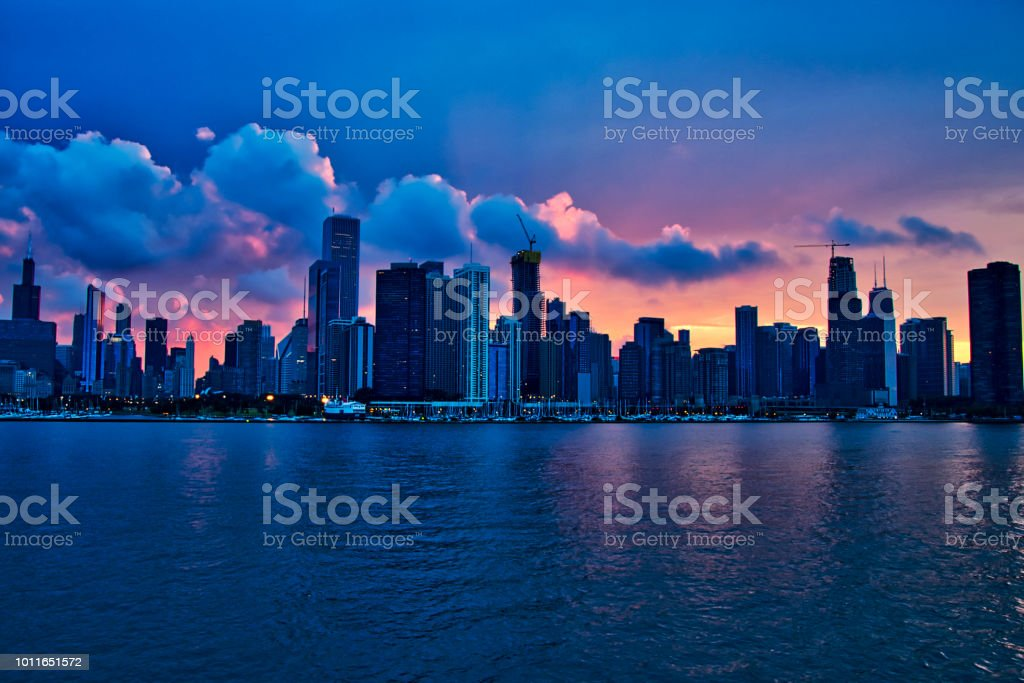 Sunset Over City Of Chicago Skyline During Evening Seen From Lake Michigan In Summer Stock Photo Download Image Now Istock