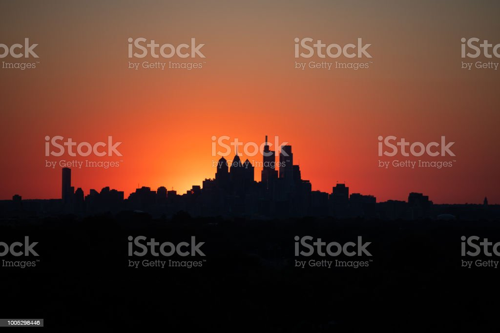 Sunset over City of Philadelphia stock photo