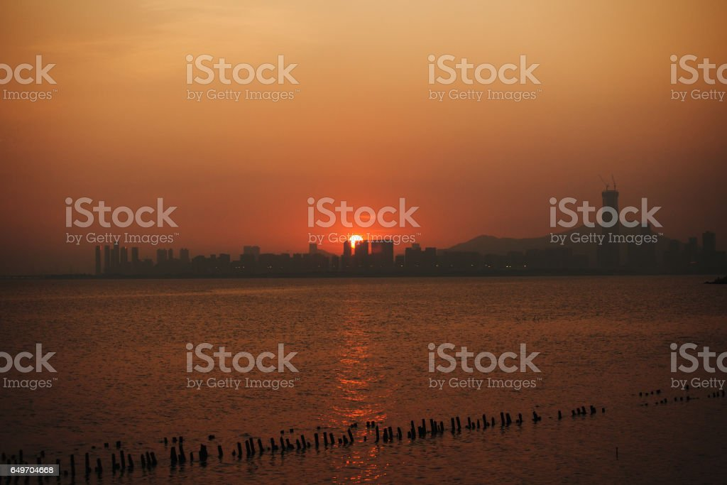 Sunset over city of Shenzhen, China stock photo