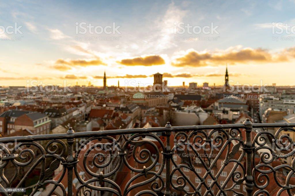 Sunset over city skyline in Copenhagen, Denmark stock photo