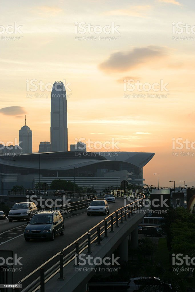 Sunset over Cityscape in Hong Kong royalty-free stock photo
