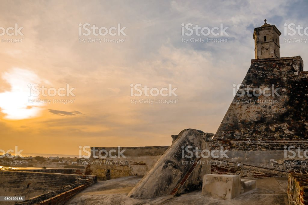 Sunset over cityscape of Cartagena with city wall stock photo
