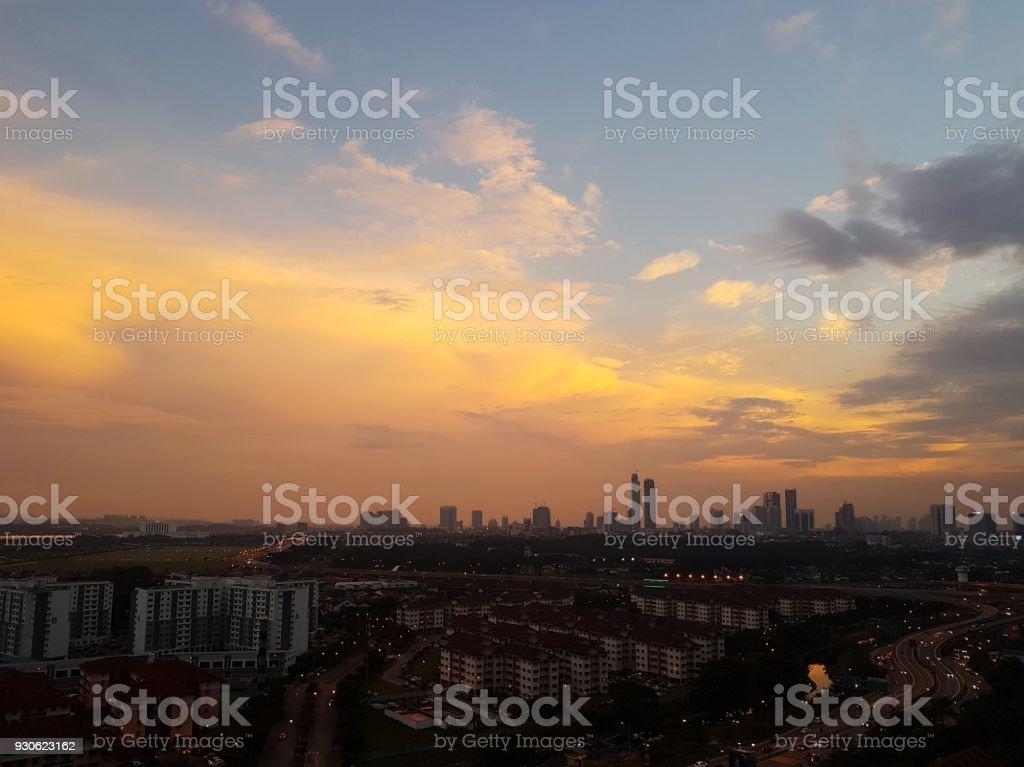 Sunset over cityscape stock photo