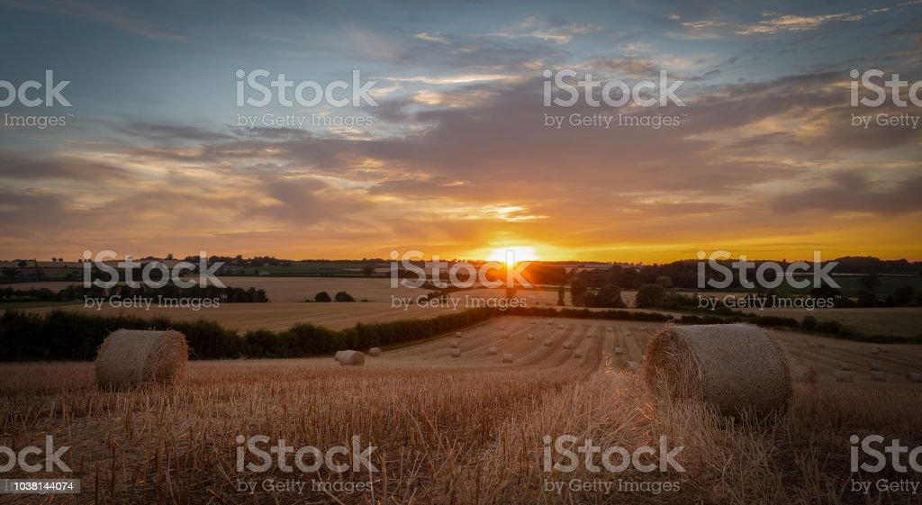 Sunset over Claverley. stock photo