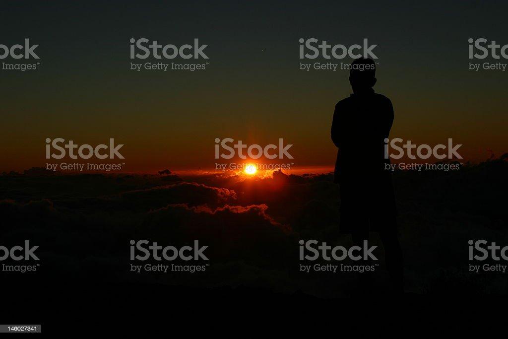 Sunset over cloud sea stock photo