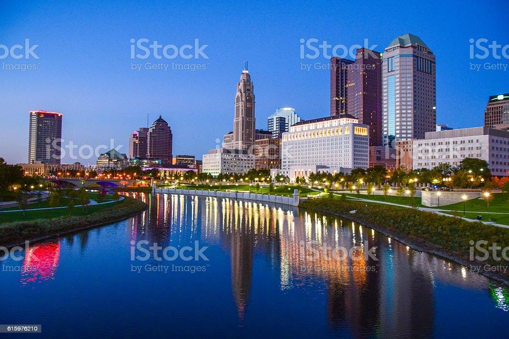 Sunset Over Columbus, Ohio stock photo