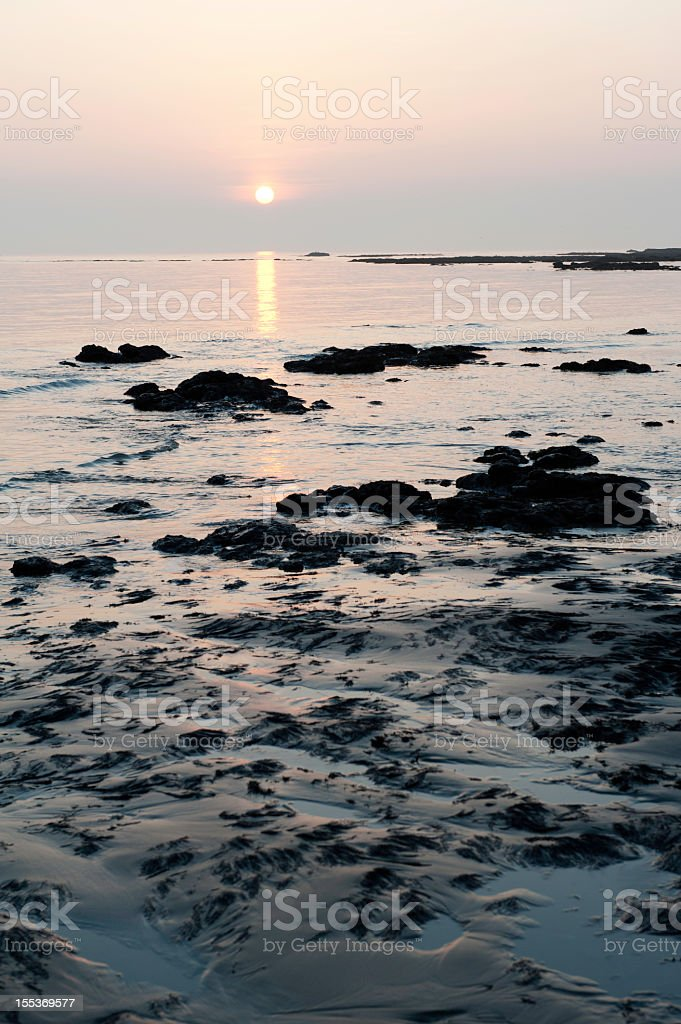 Sunset over Compton bay, Isle of Wight royalty-free stock photo