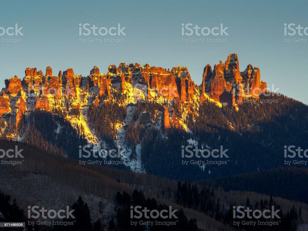 Sunset over Courthouse mountain range near Ridgway, Colorado stock photo