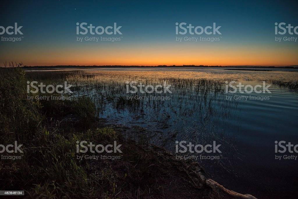 Sunset over Crex Meadows stock photo