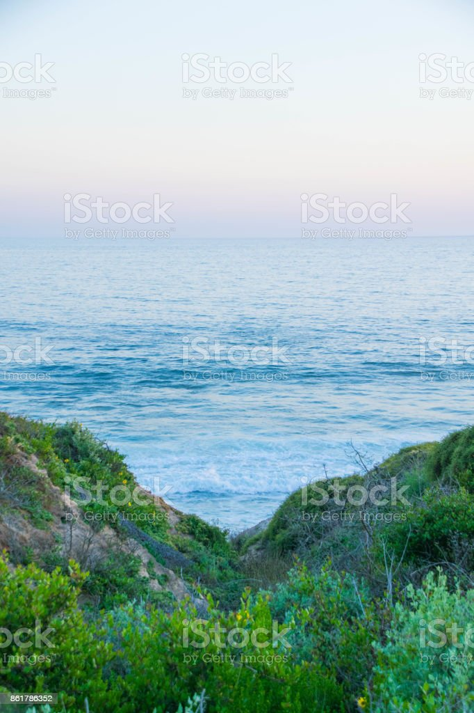 Sunset over Crystal Cove State Beach stock photo